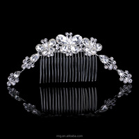 Elegant Crystal Tiara Butterfly Headwear Hair Comb Decorated With Flower