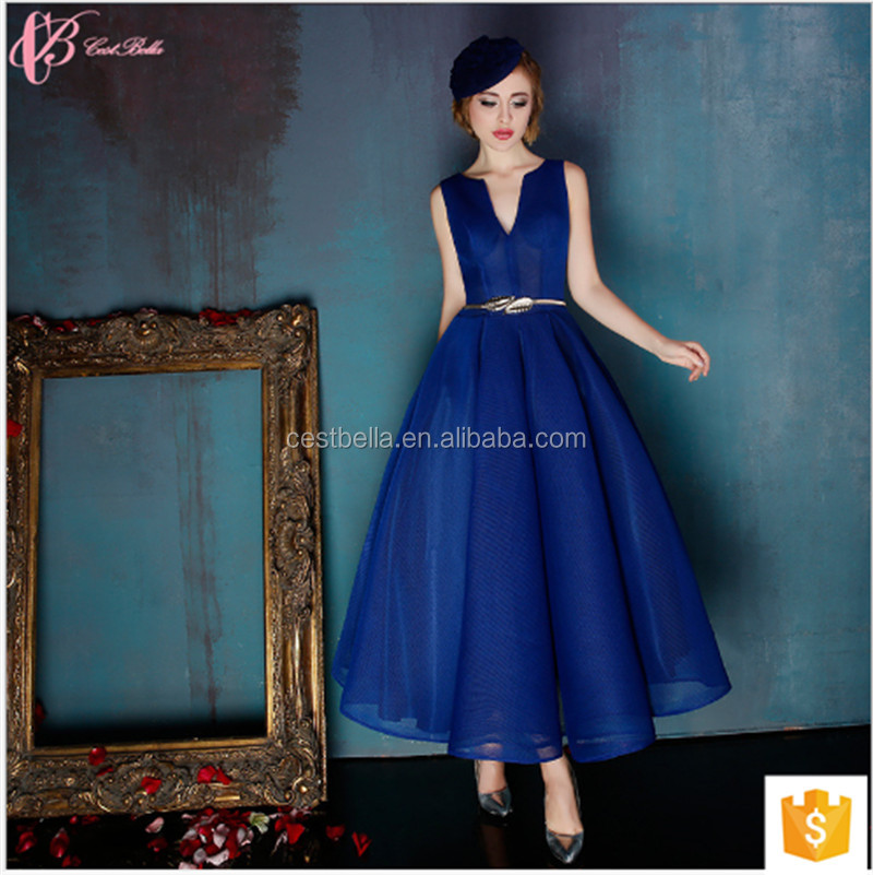 New Arrival Luxury Royal Blue Sleeveless Fashion Woman Party Wear Blue Lace Long Evening Dress