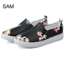 Hot Selling Brand name UK PU slip-on Rubber Flat casual ladies Running Sport shoes