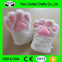 Cat Paw Gloves Girl Gloves , Fluffy Bear Paw Gloves , Soft Winter Gloves