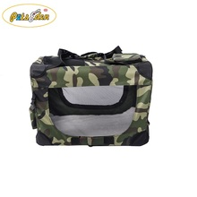 Wholesale foldable camouflage pet crate small animals carrier for travel dog cate Airline bag