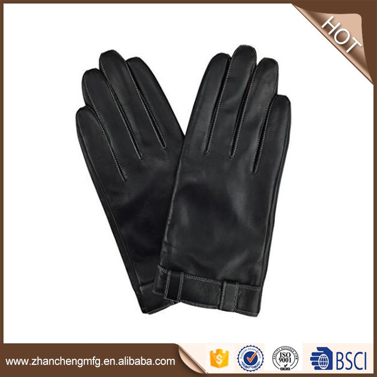 Hot selling fashio goat skin leather gloves in winter