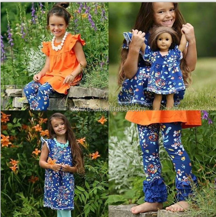 Doll and girls Ruffle boutique clothing childrens boutique clothing Girls boutique outfits