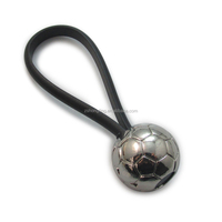 rubber key holder key chain with metal football soccer