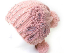 High Quality Womens Pink Winter Autumn Pompom Beanie Flower Warm Knitted Cap Hat