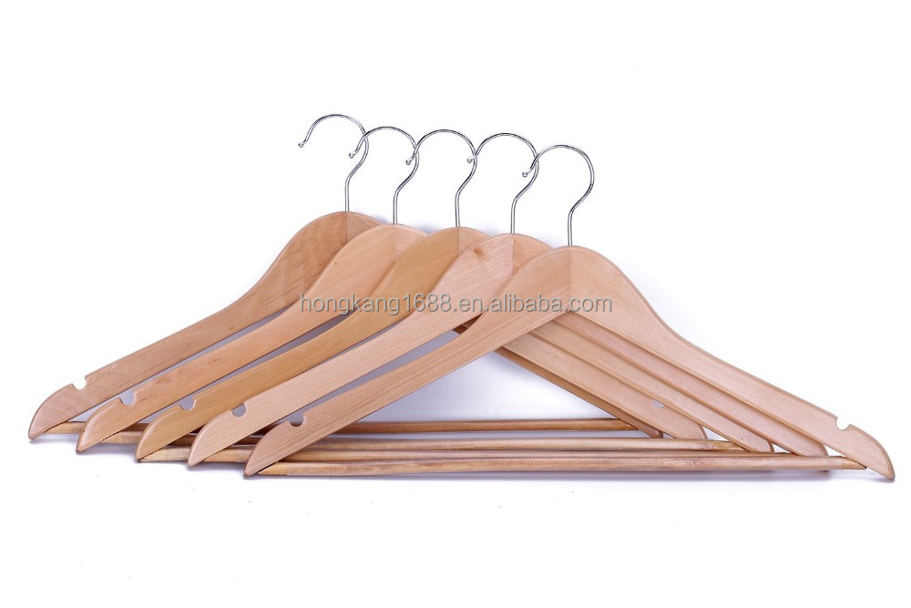 Hanger Solid Wooden Suit Hangers Natural Finish with Anti-rust Hooks and Non-slip Bar