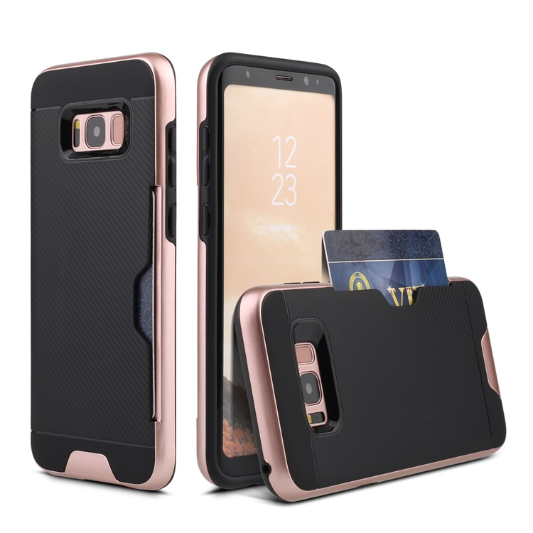 For Samsung Galaxy S8 Colorful TPU+PC Wallet Card Slots Storage cell phone Case