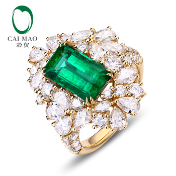 Latest developed Valued Nature Emerald 18k White Gold Diamond Ring