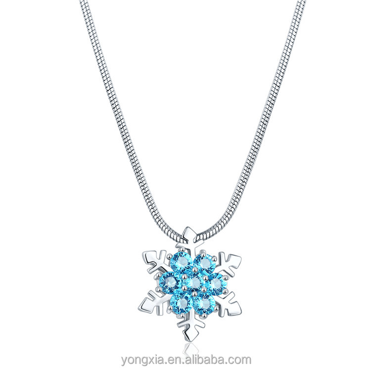Cheap wholesale white gold plated cubic zircon snowflake blue pendant jewelry necklace