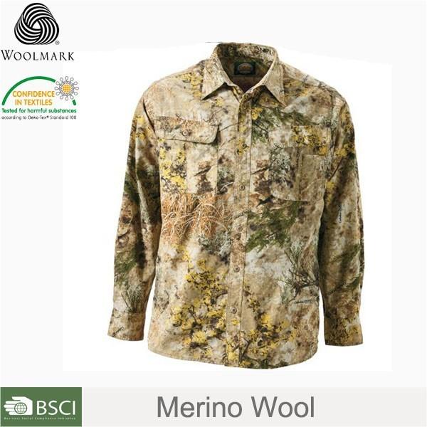 wholesale 100% Merino wool camouflage shirts,knitted military style shirts men