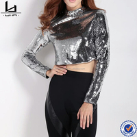 New shinny crop top blanks tee shirts women long sleeve fitted tee wholesale t shirts with sequin
