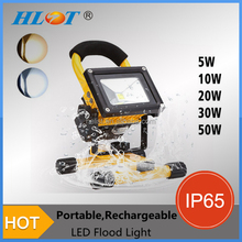 HOT Powerful 10W 20W 30W 50W LED FloodLight +Charger+Battery led rechargeable flood light