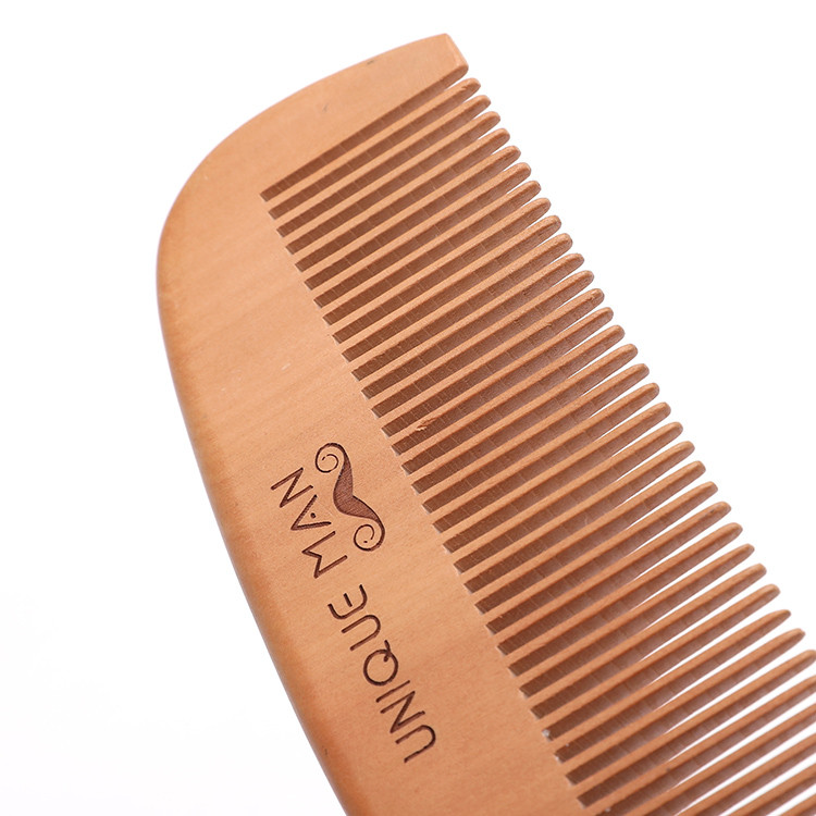 wholesale high quality private label custom single-sided pear wood beard comb for men