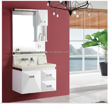 wall mounted artifcial stone resin sink bathroom cabinet in white color with mirror and Faucet