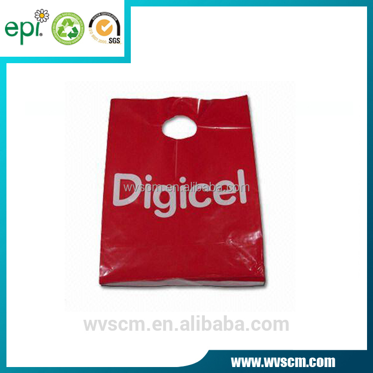 Custom Design Logo Printing PE Cheap Die Cut Patch Handle Biodegradable Shopping Plastic Bag