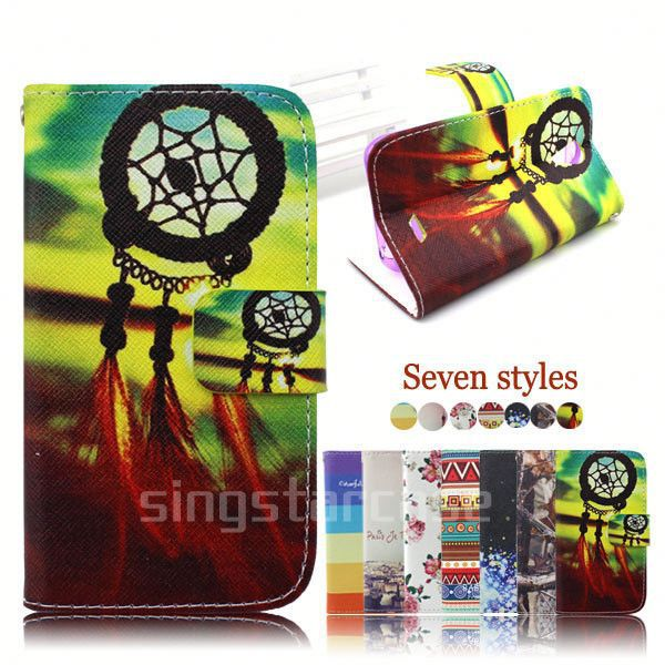 leather flip case cover for samsung monte s5620