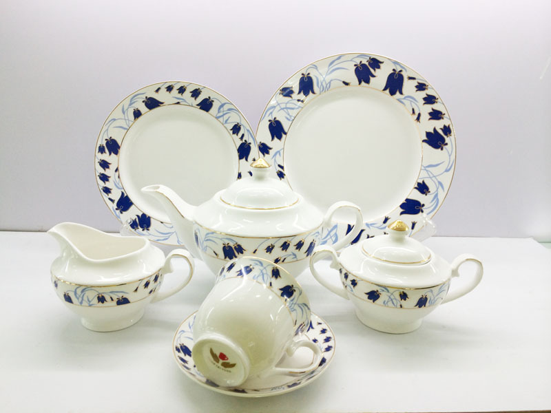 Chinese half decal bone china tea set