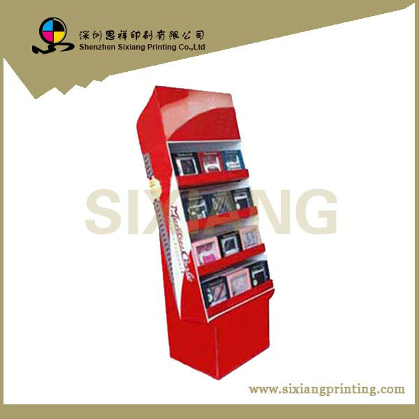 High quality 3-tier floor cardboard for photo frame,POP Up Cardboard Display Stand