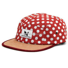 Dotted Print Suede Brim Custom 5 Panel Hat