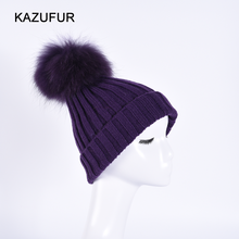 Super Big Raccoon Fur Pompoms on Wither Knitted bobble Hat High Fashion Custom hat KZ160079