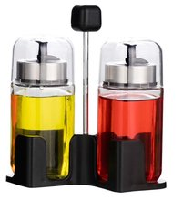 SINOGLASS trade assurance 100 ML with rack non drip Glass Oil and Vinegar cruet set
