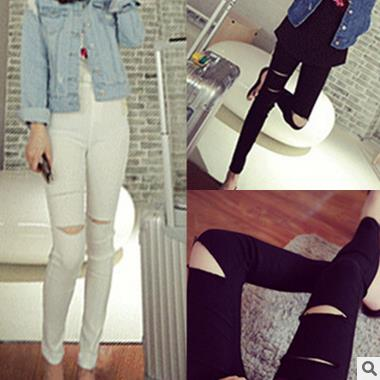 Alibaba latest fashion korean hole design trousers hot selling ladies tight pants