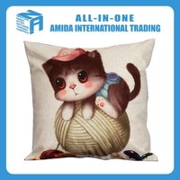 2015 top quality shaped lovely cat pattern cute creative linen pillow case