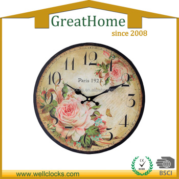 12 inch MDF flower design MDF wood wall clock for Home Deco.