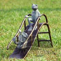 Garden Decoration Two Bronze Funny Frog Playing on Silde Sculpture