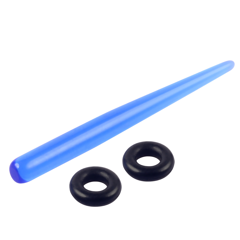 Cheap Blue Acrylic Ear Taper with Rubber Rings Long Size Body Piercing Jewelry