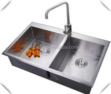 Good quality new style 830X530X220mm Double bowls Top mounted hand craft wash basin and sinks