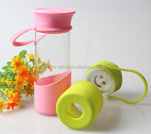 400ml water bottle plant sport travel outdoor drinking plastic lid glass water bottle with fruit tea infuser for milk juice