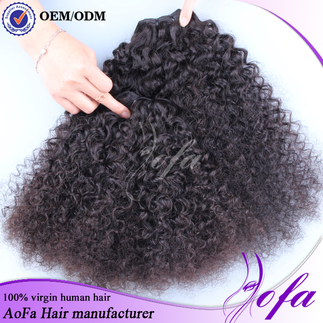 Factory price black women natural color virgin Brazilian afro kinky curl human hair weave