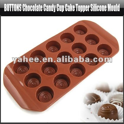 Buttons Chocolate Candy Cup Cake Topper Silicone Mould,YFK552A