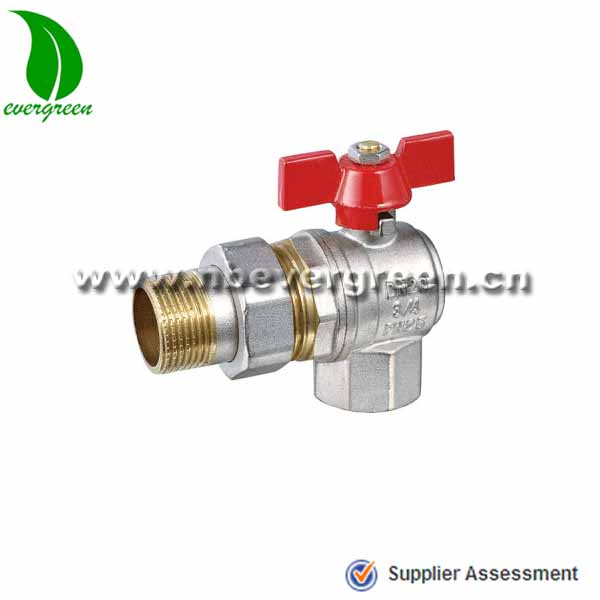 Female and male angle brass ball valve with aluminium butterfly handle