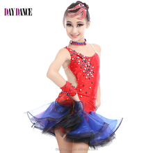 Girl Fashion Rhinstone Open Back Sexy Latin Dance Dress Children Kids Samba Tango Salsa Performance Dresses
