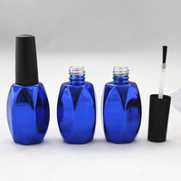 15ml diamond cobalt blue glass gel polish bottle with nail glue brush and cap