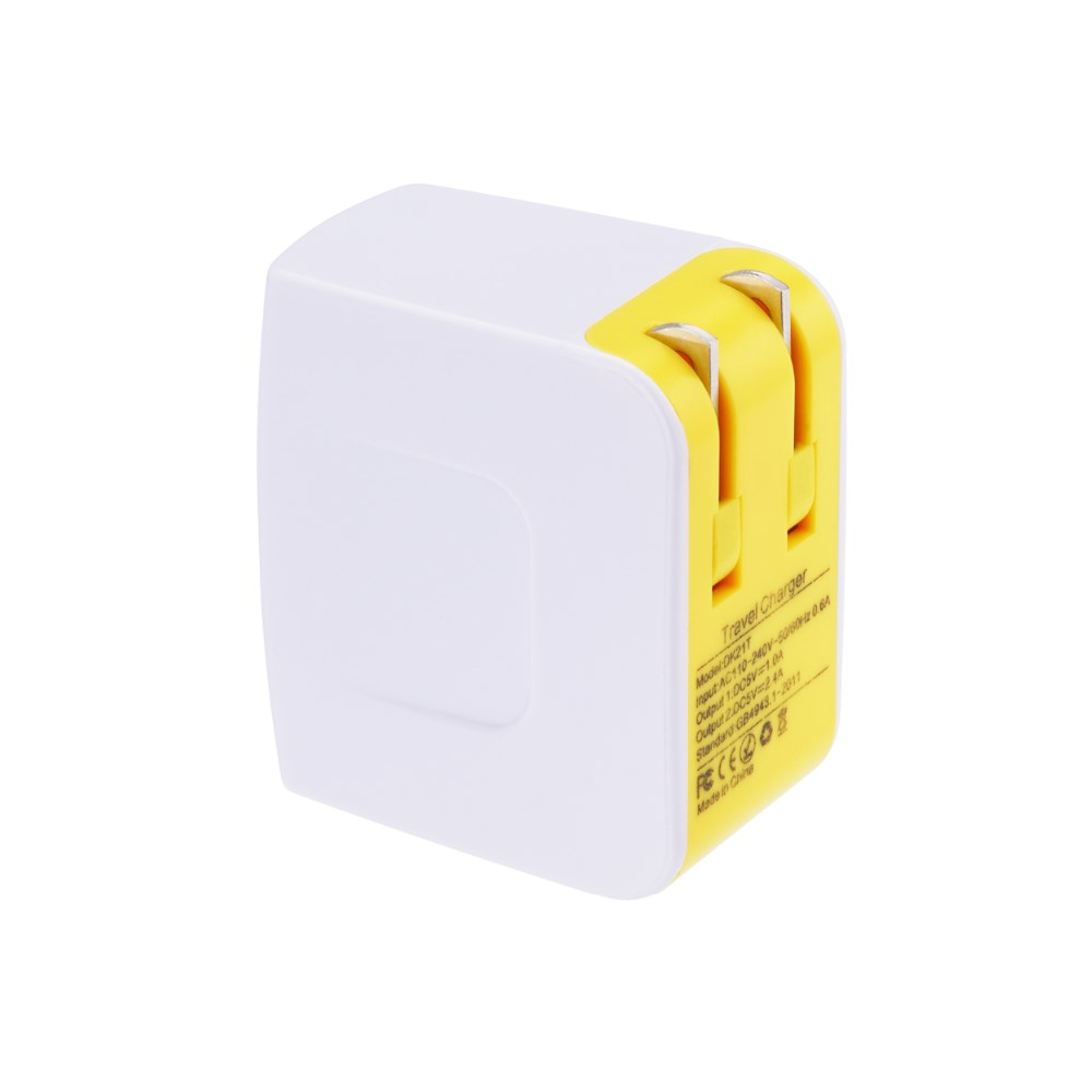 Double Color Shell Foldable US Plug Travel Adapter 17Watt 5V3.4A Dual USB Battery Phone Charger