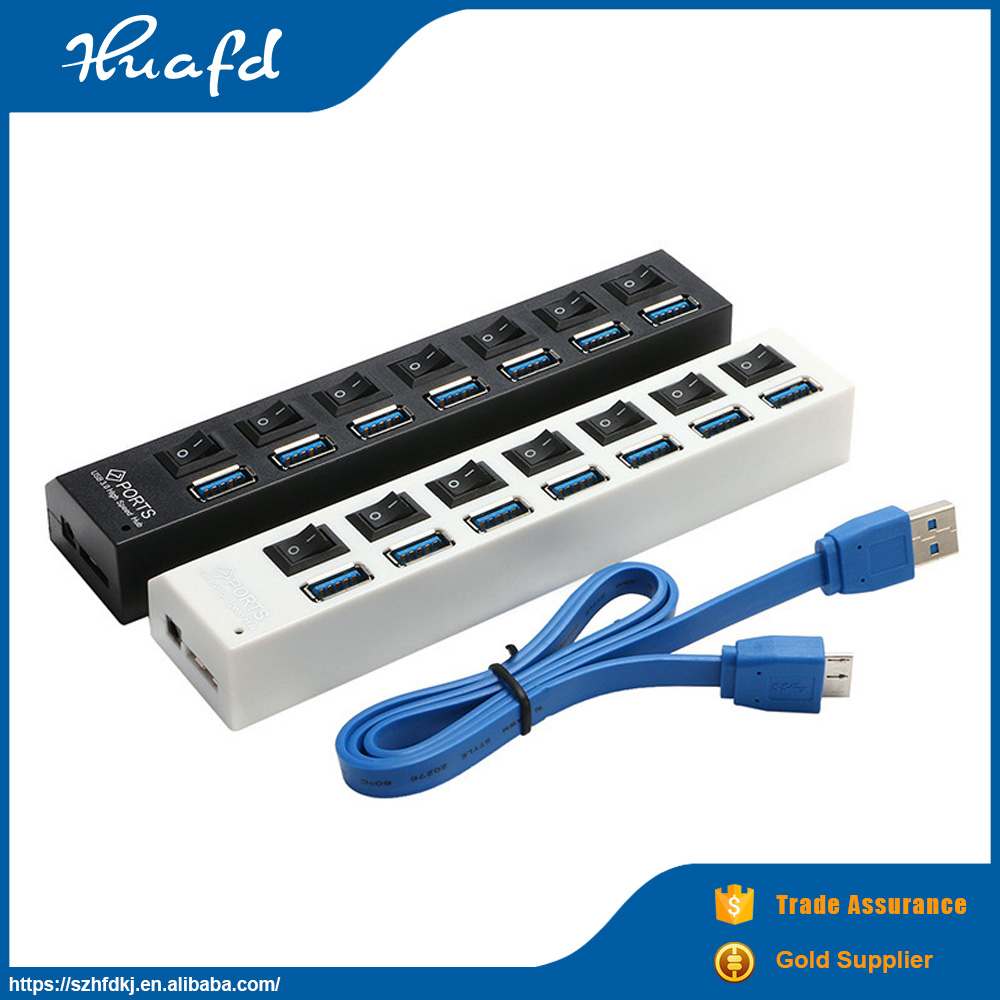 Best-selling multi port usb 3.0 hub 7 ports fine hub with switch for laptop