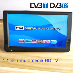 Portable DVB-T2 TV 12 inch Color Lcd Television USB audio car television portable multimedia player display monitor