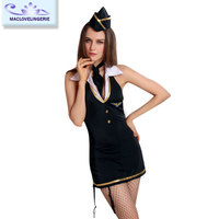 Maclove Cheap Wholesale Ladies Halloween Flight Attendant Uniform