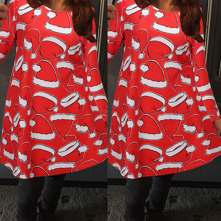 B12308A 2016 lady red christmas hats printed dress