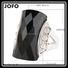 Bohemia Fashion Leaf Imitate Emerald Ring CZ Silver Plated Wedding Ring