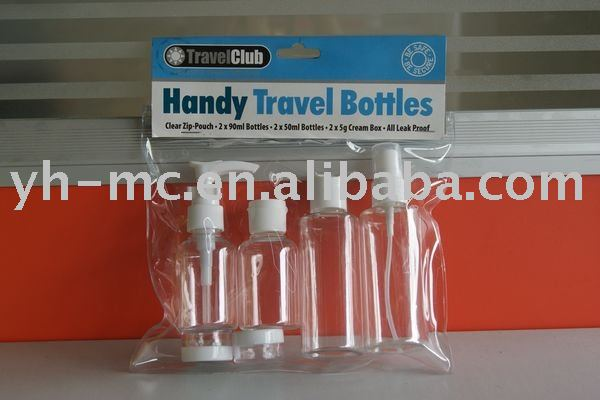 hotsell travel set bottle with card and label