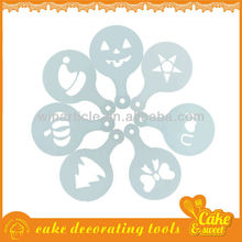 Christmas and halloween plastic cappuccino coffee stencil set