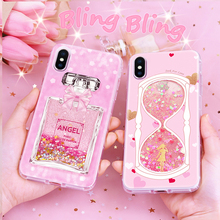 For iPhone X Free sample Cute design Bling Bling Liquid Glitter mobile phone case Back Cover with Custom Designs