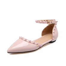 Made in China women's popular patent leather summer flat shoes ankle strap sandal with studs