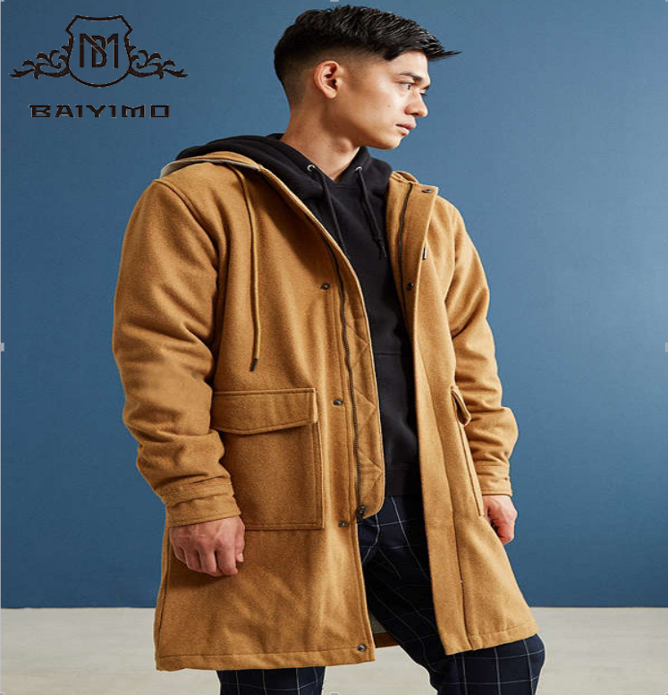 Unique Design Fashion Pocket With Hood Button Wool Men's Coat
