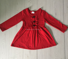 red color smocked frocks designs 2018 spring kids dress long sleeve trendy baby boutique