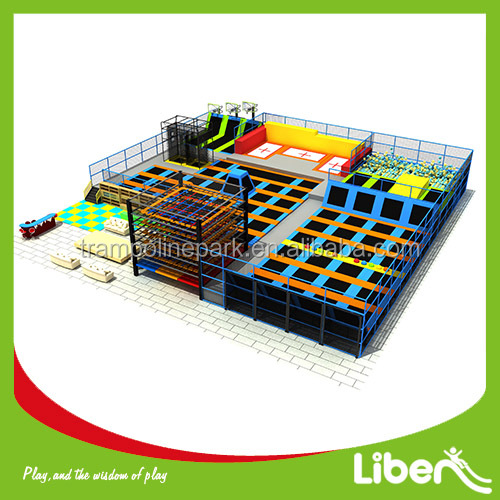 Skyzone Type Wholesale Children Play Center Best Choice Rectangle Trampoline with Safety Enclosure